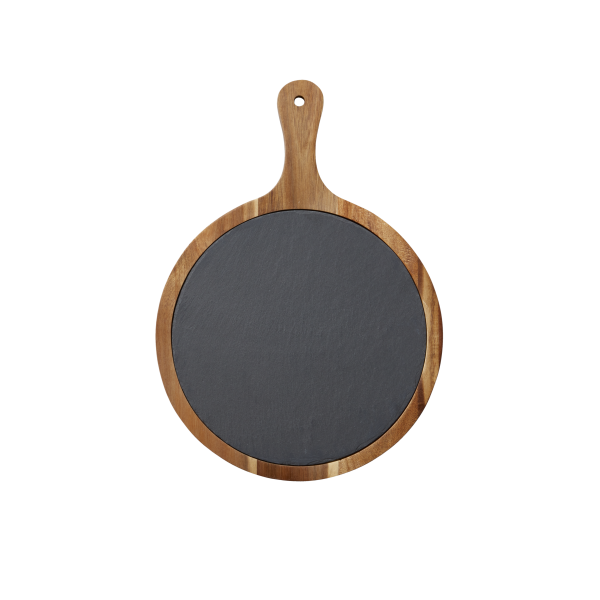 Round Slate & Acacia Wood Cutting Board